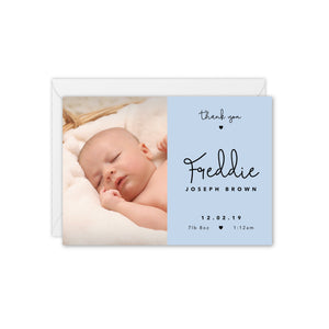 Tiny Hearts Baby Photo Announcement / Thank You Card - Blue
