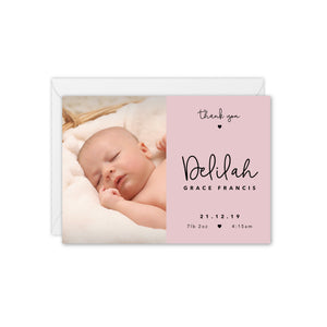 Tiny Hearts Baby Photo Announcement / Thank You Card - Pink