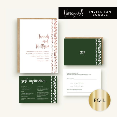 Vineyard Copper Foiled White Foliage Wedding Invitation Bundle