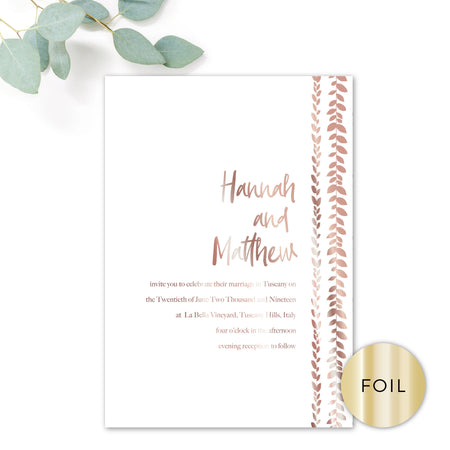 Vineyard Forest Green White Foliage Wedding Information Card