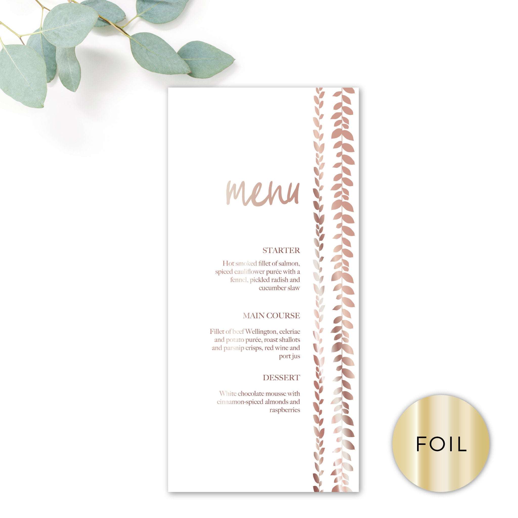 Vineyard Copper Foiled White Foliage Wedding Menu