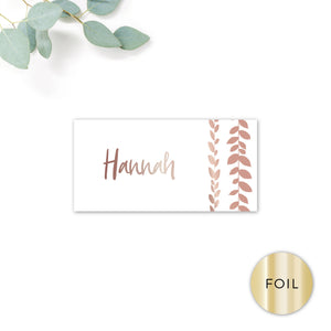 Vineyard Copper Foiled White Foliage Wedding Place card