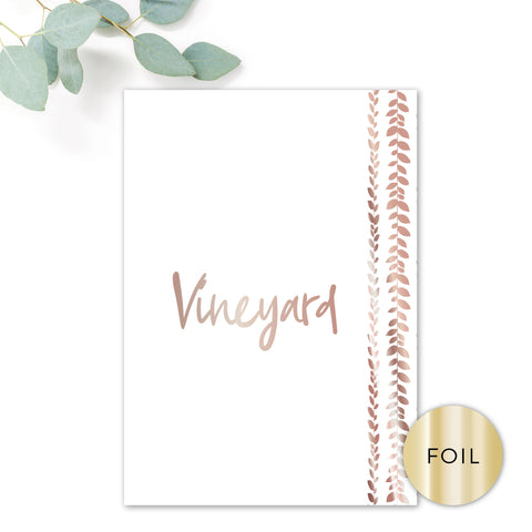 Vineyard Copper Foiled Wedding Table Names