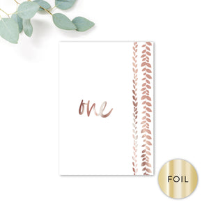 Vineyard Copper Foiled White Foliage Wedding Table Numbers