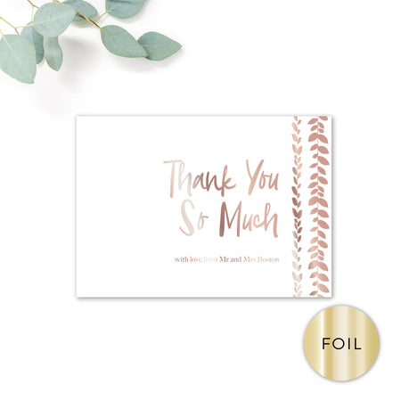 Vineyard Copper Foiled White Foliage Wedding Thank you card