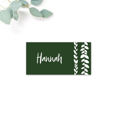 Vineyard Forest Green White Foliage Wedding Place card