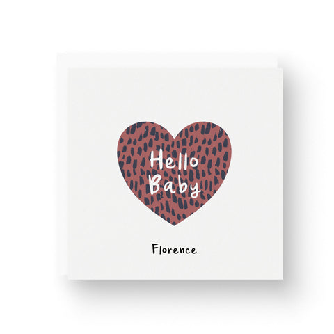Animal Print Heart Personalised New Baby Card - Dark Rose
