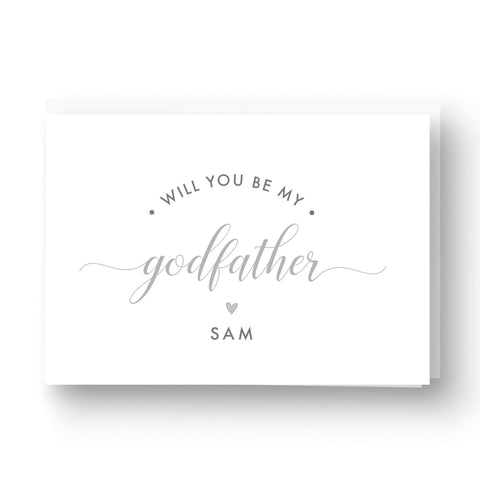 Will you be my Godfather / Godparent / Guideparent Personalised Card - Grey