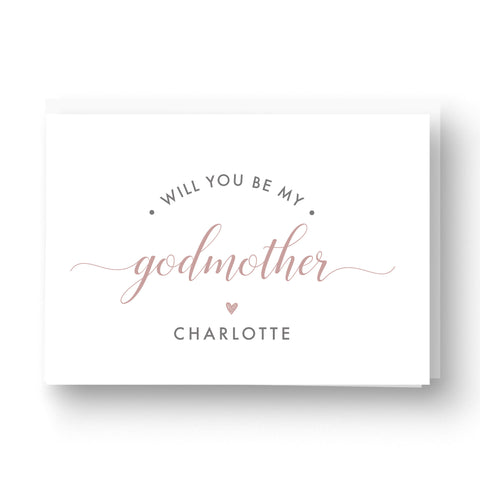 Will you be my Godmother / Godparent / Guideparent Personalised Card - Pink