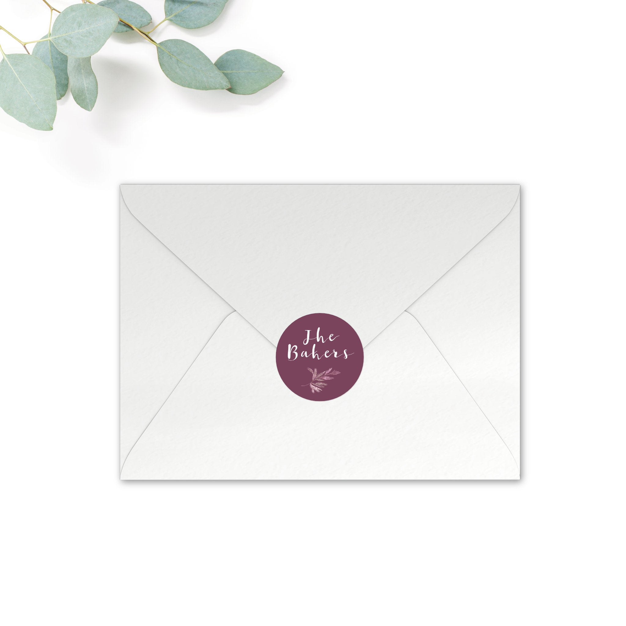 Winter Personalised Round Wedding Seal Stickers for Envelopes
