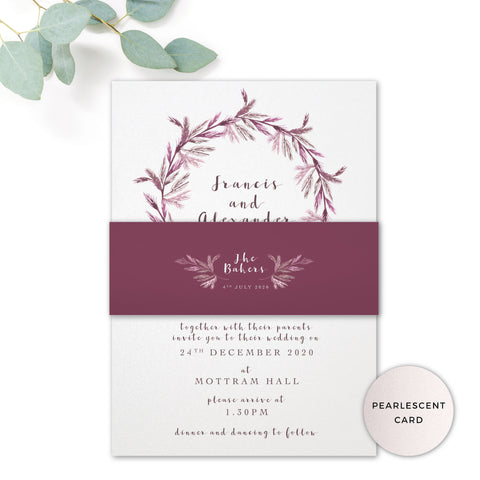 Winter Pearlescent Purple Berry Wreath Branch Wedding Invitation with Belly Band