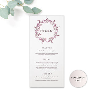 Winter Pearlescent Purple Berry Wreath Branch Wedding Menu Cards
