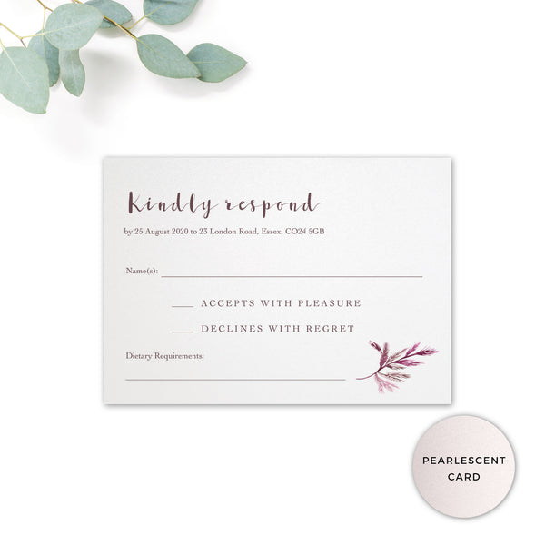 Winter Pearlescent Purple Berry Wreath Branch Wedding RSVP Card