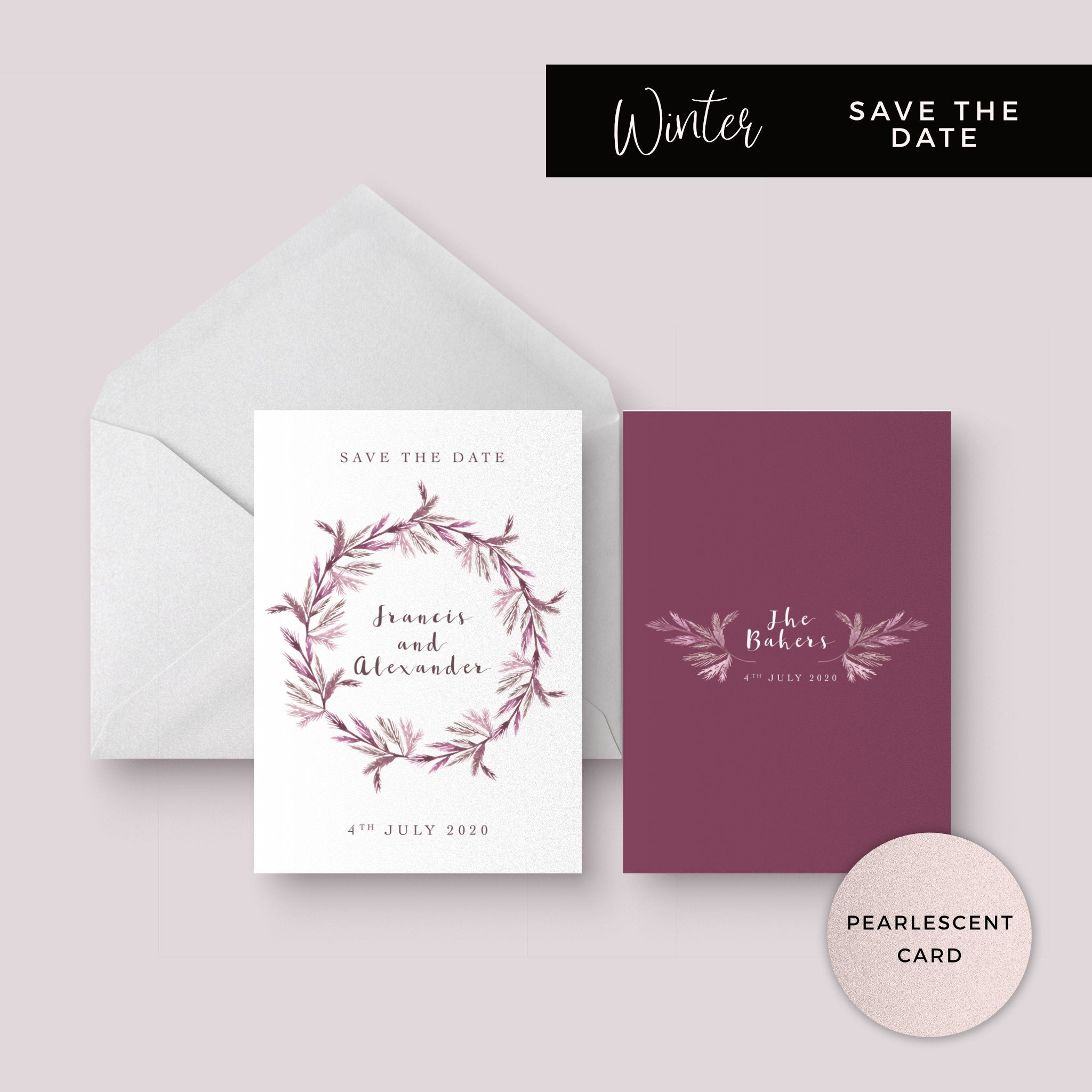 Winter Pearlescent Purple Berry Wreath Branch Wedding Save the date Care