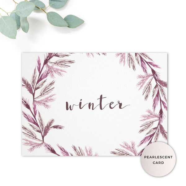 Winter Pearlescent Purple Berry Wreath Branch Wedding Table Name