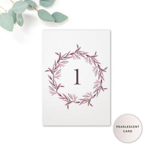 Winter Pearlescent Purple Berry Wreath Branch Wedding Table Number
