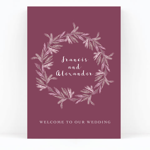 Winter Pearlescent Purple Berry Wreath Branch Wedding Welcome Sign