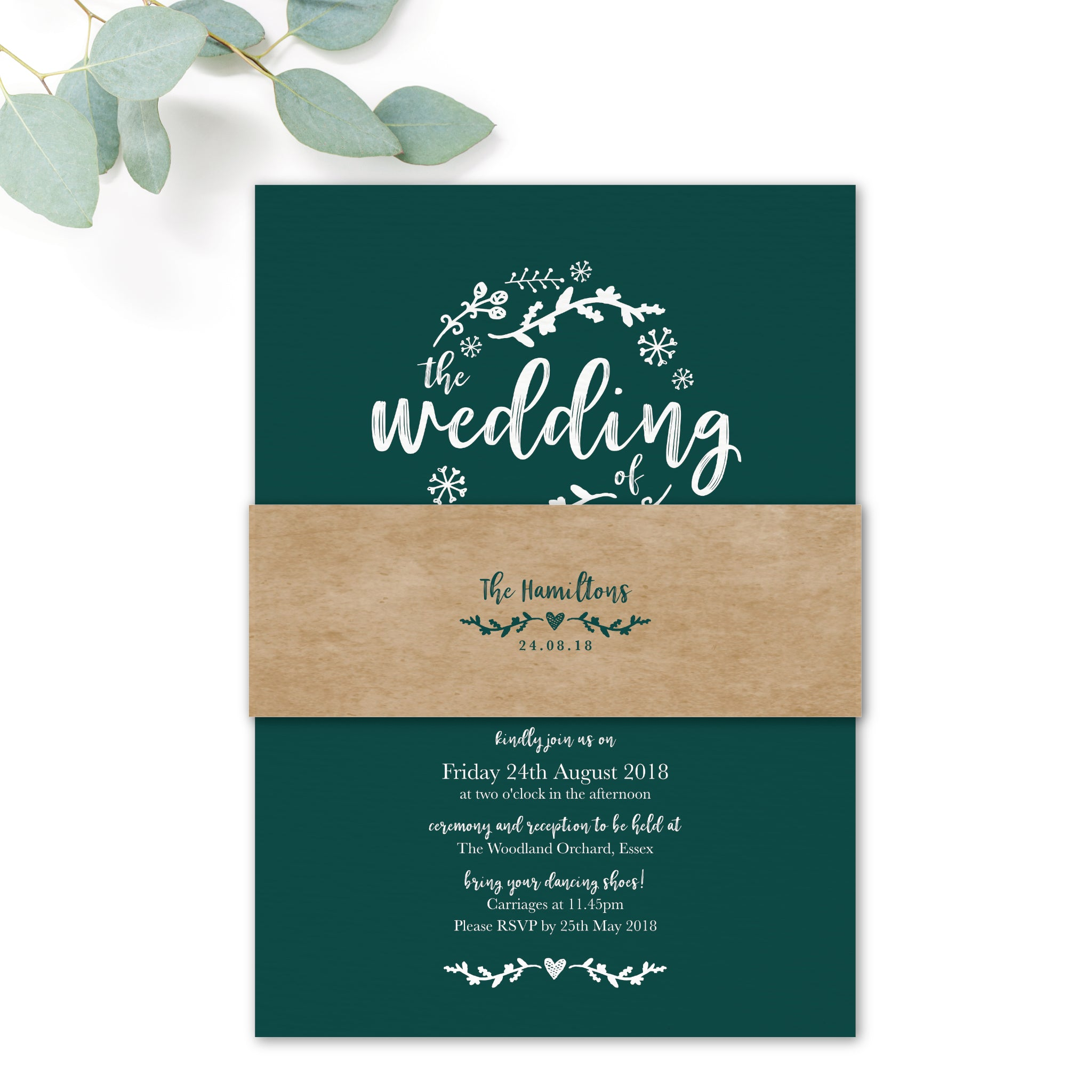 Woodland Emerald Green Kraft Wedding Invitation Belly Band