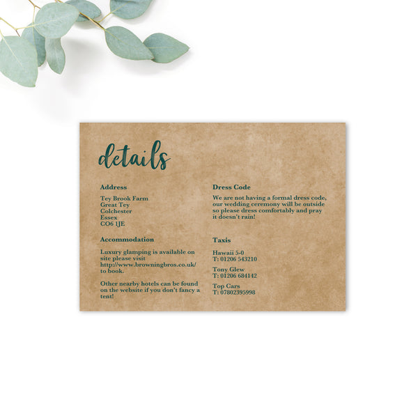 Woodland Emerald Green Information Card