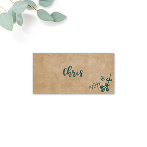 Woodland Green Kraft Wedding Place Card