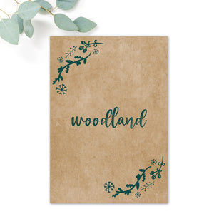 Woodland Green Kraft Table Names