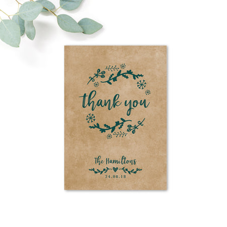 Woodland Green Kraft Thank You Card