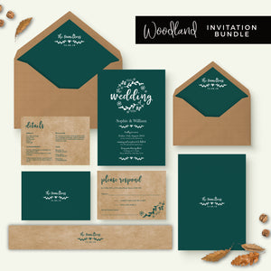 Woodland Emerald Green Kraft Wedding Invitation Bundle