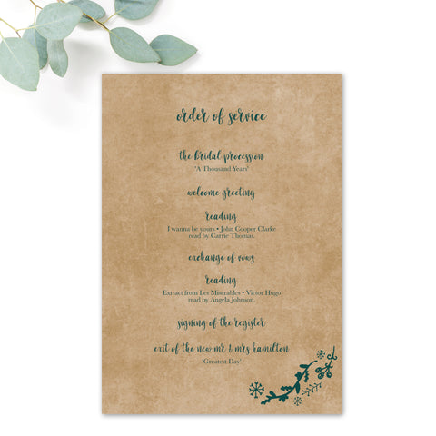 Woodland Green Kraft Order of Service