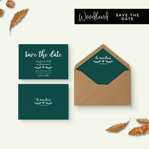 Woodland Emerald Green Save the Date