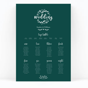 Woodland Green Wedding Table Plan