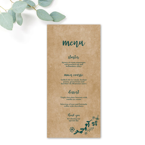 Woodland Green Kraft Wedding Menu Cards