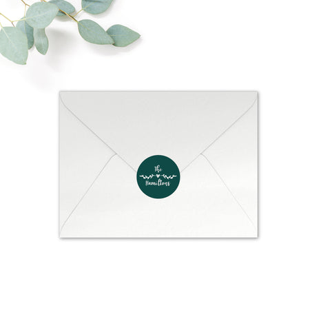 Woodland Personalised Round Wedding Seal Stickers for Envelopes