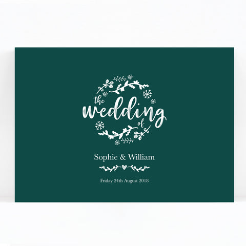 Woodland Green Wedding Welcome Sign