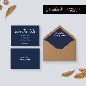 Woodland Navy Rustic Wedding Save the Date