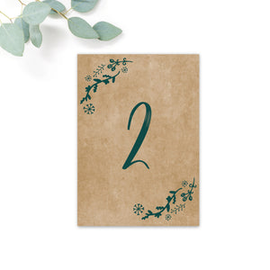 Woodland Green Kraft Table Numbers