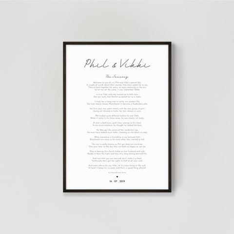 Wedding Reading Personalised Print - 1st Wedding Anniversary Gift