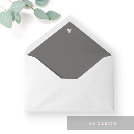 Midnight Grey Heart Envelope Liner A6 C6