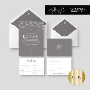 Midnight Fairy Light Grey and Silver Foiled Wedding Invitation Bundle