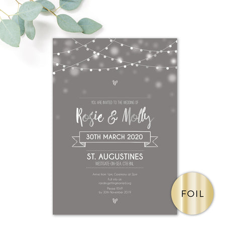 Midnight Fairy Light Grey and Silver Foiled Wedding RSVP Card