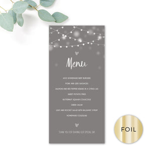 Midnight Fairy Light Grey and Silver Foiled Wedding Menu Card