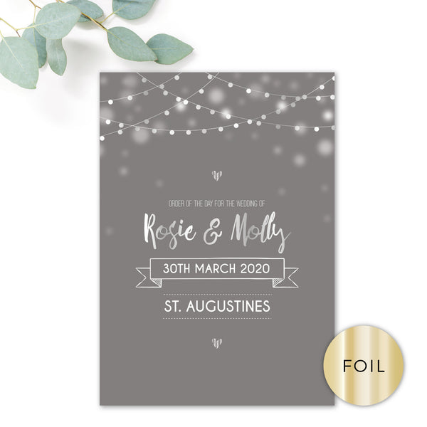 Midnight Fairy Light Grey and Silver Foiled Wedding Order of the day front