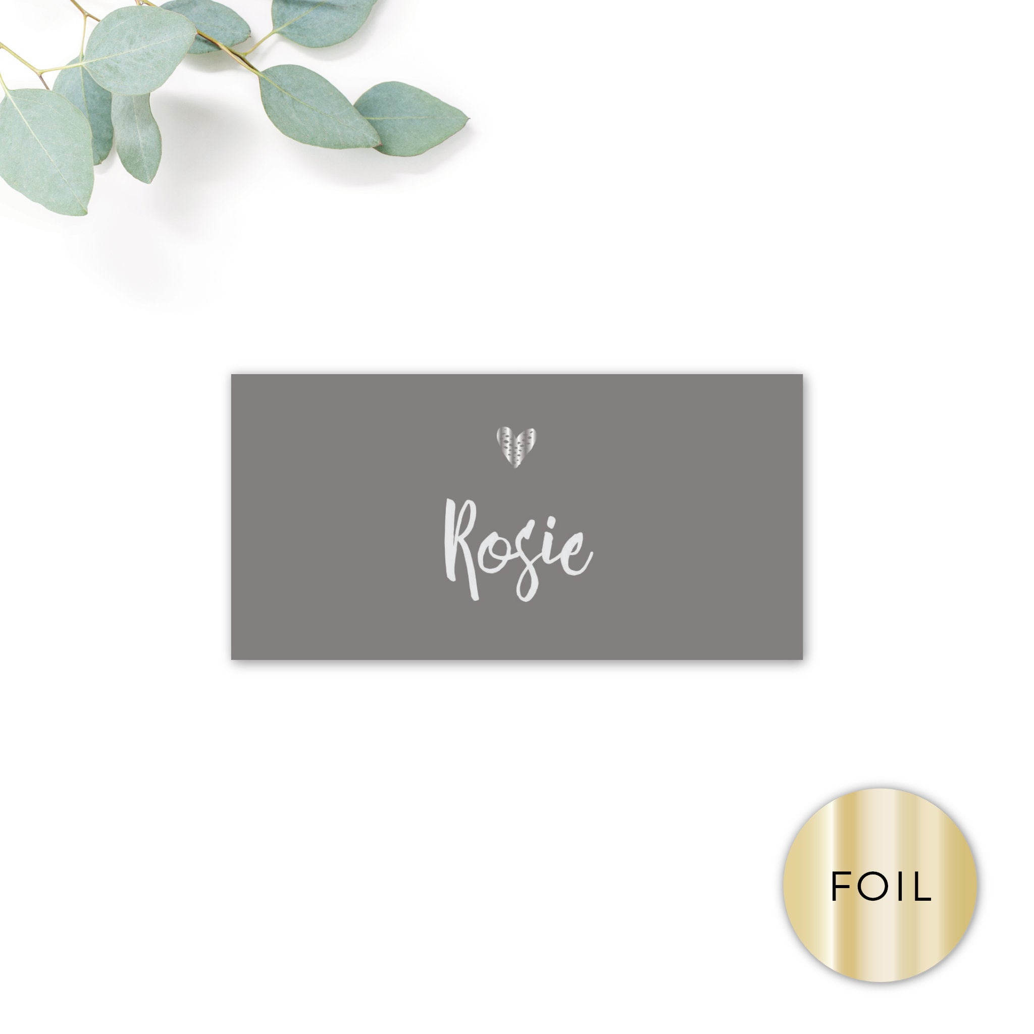 Midnight Fairy Light Grey and Silver Foiled Wedding Place card