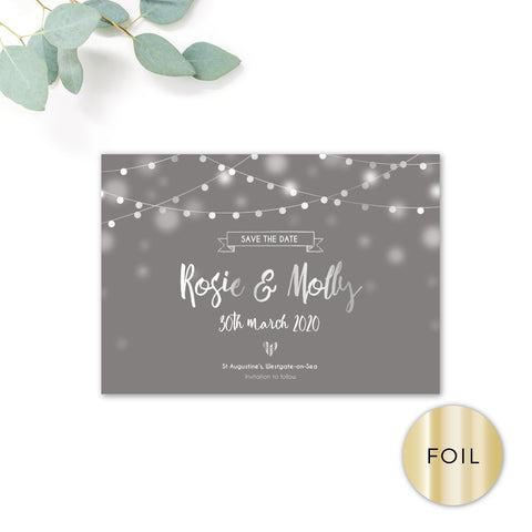 Midnight Fairy Light Grey and Silver Foiled Wedding Save the Date