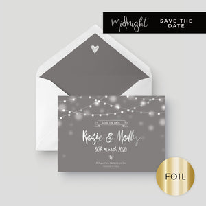 Midnight Fairy Light Grey and Silver Foiled Wedding Save the Date with envelope liner