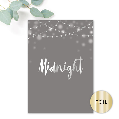 Midnight Fairy Light Grey and Silver Foiled Wedding Table Names