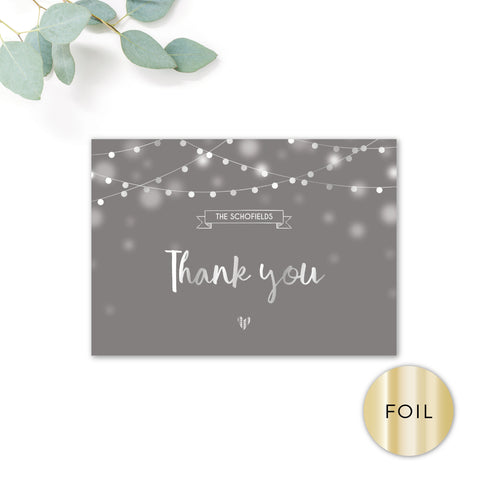 Midnight Fairy Light Grey and Silver Foiled Wedding Thank you card