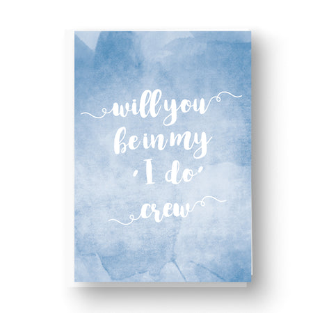 'I Do' Crew Watercolour Wedding Party Card