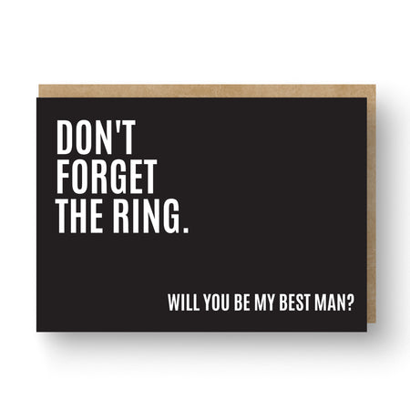 'Don't Forget the Ring' Best Man / Groomsman Card Black