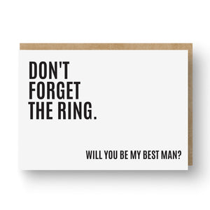 'Don't Forget the Ring' Best Man / Groomsman Card White