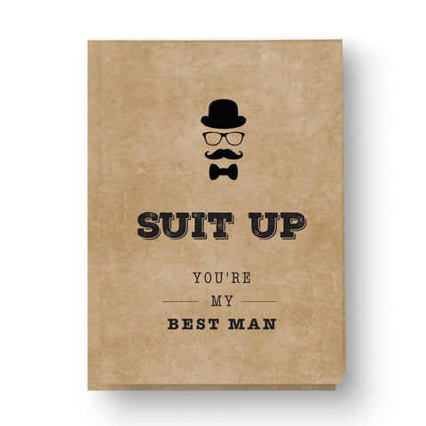 'Suit up' Best Man / Groomsman Card Kraft